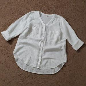 Eileen Fisher White Gauzy Blouse Shirt Petite S